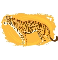 tiger on a bright yellow background zeal vector image vector image