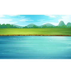 A river and a beautiful landscape vector image vector image