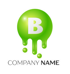 b letter splash green dots and bubbles letter vector image vector image