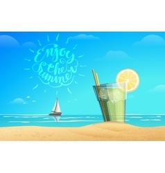 Glass with lemonad lettering vector image vector image