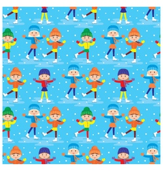 seamless girls on a skating rink pattern vector image vector image