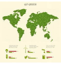 Stylized world map with eco infographic elements vector image vector image