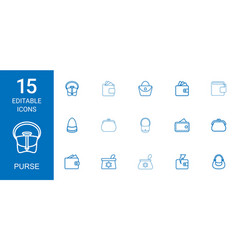 15 purse icons vector image