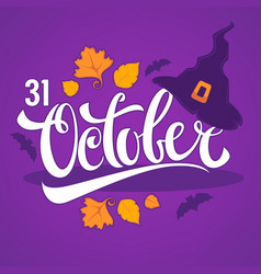 31 october halloween greeting card with witch hat vector