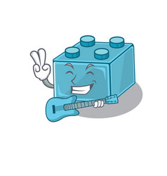 A picture lego brick toys playing a guitar vector