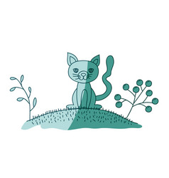 aquamarine hand drawn silhouette of cat in hill vector image