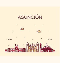 asuncion skyline paraguay city linear style vector image