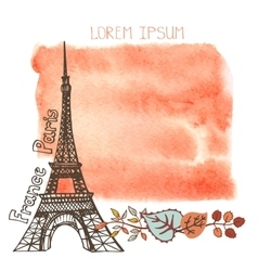 Autumn ParisEiffel towerwatercolor splashleaves vector