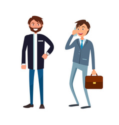 Bearded man in formal wear and executive worker vector