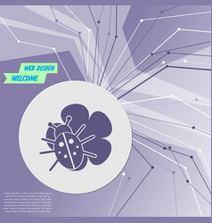 beetle on a leaf icon purple abstract modern vector image