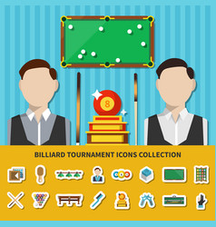 billiard tournament icons collection vector image