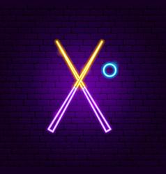 Billiards cue neon sign vector