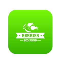 bio food berries icon green vector image