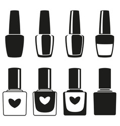 Black and white nail polish silhouette collection vector
