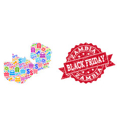 black friday collage of mosaic map of zambia and vector image