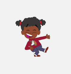 Black girl with a unicorn pullover laughing while vector