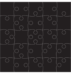 Black Puzzles Pieces - JigSaw - 25 vector