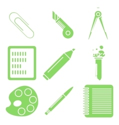 Black school goods green linear icons Part 2 vector image