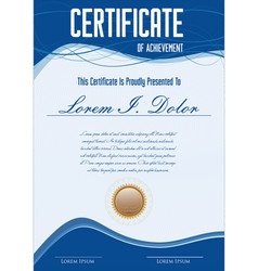 Blue certificate or diploma retro template vector