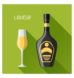 Bottle and glass of liqueur in flat design style vector image