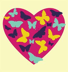 Butterflies in heart vector
