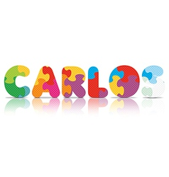 CARLOS written with alphabet puzzle vector