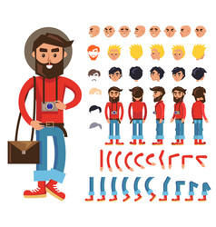 Cartoon hipster man character constructor vector