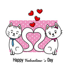 Cats in love Valentine card vector