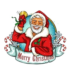 Christmas label with Santa vector