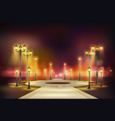 Colored street lights realistic composition vector