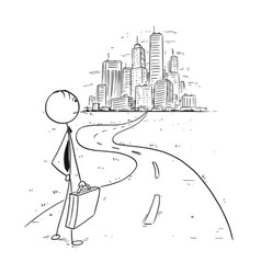 Conceptual cartoon of business man on the way in vector