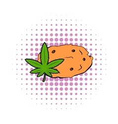 Cookies with marijuana leaf icon comics style vector