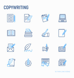 copywriting thin line icons set vector image