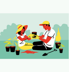 couple teamwork agriculture gardening planting vector image