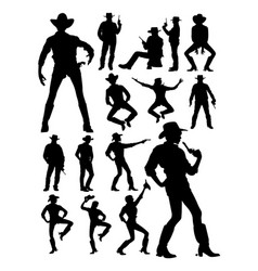 Cowboy and cowgirl detail silhouette vector