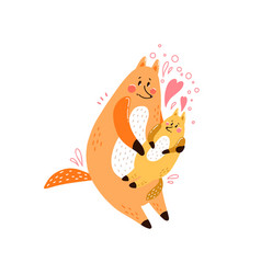 cute postcard happy family with a picture of a fox vector image