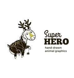 Deer in superhero costume character isolated on vector