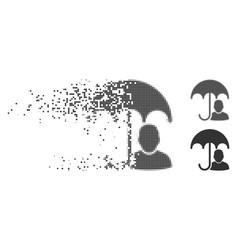 Disintegrating pixel halftone user safety umbrella vector