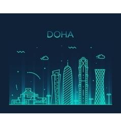 Doha skyline silhouette linear style vector image