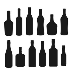 drinks and alcohol beverages bottles silhouettes vector image
