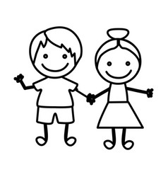 figure happy chidren with hand together icon vector image vector image