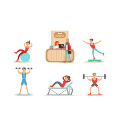fitness center set people exercising in gym vector image