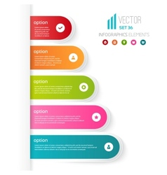 Five colored steps with different options and vector