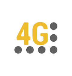 Flat 4g emblem with signal strength dots vector