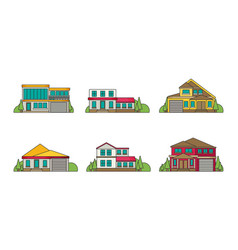 Flat buildings vector