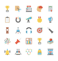Flat education icons pack vector