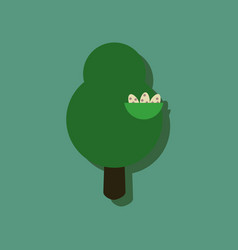 Flat icon design collection tree and nest in vector