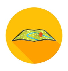 Flat Stylized Circle Map Icon vector