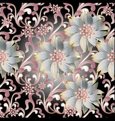 floral seamless pattern 3d flowers vector image