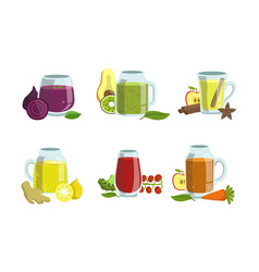 fruit and vegetables smoothies set detox vector image